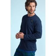 Pijama Masculino Adulto Mixte Longo Blusa Azul Marinho e Calça Xadrez de Flanela