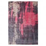 Kurzflor Teppich in Anthrazit Rot und Beige gemustert