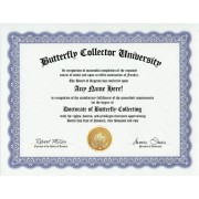 Butterfly Collection Collecting Butterflies Collector Degree: Custom Gag Diploma Doctorate Certificate (Funny Customized Joke Gift - Novelty Item)