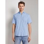 TOM TAILOR Fijn gestructureerd shirt met korte mouwen met haaienkraag, Heren, light blue white structure, L