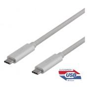 Deltaco USB-C SuperSpeed-kabel, 0.5m, USB3.1 Gen 2, silver