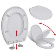 vidaXL WC sedadlo, pomalé sklápanie, rýchloupínacie, biele, oválne