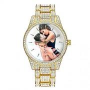 Top WH Bling-ed Personalizado para Mujer Reloj, Reloj de Lujo Redondo de Las Mujeres Reloj de Pulsera de Acero Inoxidable Crystal Rhinestone Diamond Relojes por Encargo con Cualquier Foto