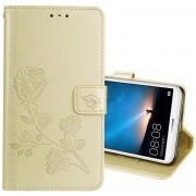 Para Huawei Mate 10 Lite Rosa En Relieve Horizontal Flip Environmental PU Funda De Cuero Con Soporte Y Ranuras Para Tarjetas Y Cartera (oro)