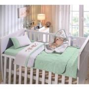 Enxovais Cama Bebe Lencol Duplo Buettner -Jogo de Cama Baby Malha Liso Dog Verde