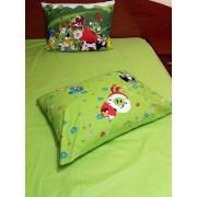 Set lenjerie pat copil 1 persoana Angry Birds – VK cu patura kaki, 2 fete de perna, 150×235 cm, bumbac calitate lux