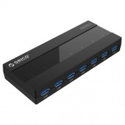 ORICO H727RK-U3 ABS High Speed 7 Ports USB 3.0 HUB with 12V Power Adapter for Laptops / Smartphones(Black)