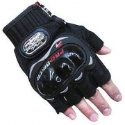Motoway Pro Bike Half Cut Racing Motorcycle Riding Gloves (XL Black)