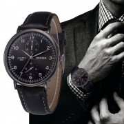 MIGEER Retro Design Leather Band Wrist Watches Mens Fashion Black Dial Business Style Analog Quartz Watch Relogio Masculino #LH