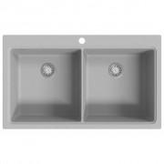 vidaXL Évier de cuisine encastrable à 2 bacs en granite blanc gris