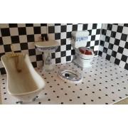 Obiecte sanitare de baie alb/albastru - miniaturi papusi