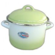 Bonyhádi zománcozott fazék + fedő zöld árnyalt 18 cm (514018078)