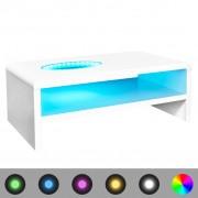 vidaXL LED-soffbord, högglans vit 42 cm