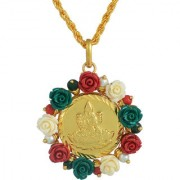 MissMister Lakshmi Gold Plated Acrylic Flower Surrounded Laxmi Coin Chain Pendant Necklace Jewellery for Women