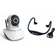 Zemini Wifi CCTV Camera and BS19C Bluetooth Headset for SAMSUNG GALAXY CORE PRIME 4G(Wifi CCTV Camera with night vision |BS19C Bluetooth Headset With Mic )