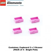 Lego Parts: Container Cupboard 2 x 3 Drawer (PACK of 4 - Bright Pink)