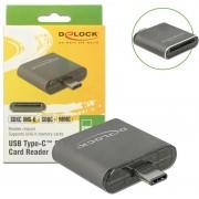 Leitor de Cartões de Memória USB Type-C SDHC/SDXC UHS-II Delock - Cinzento