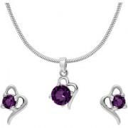 Mahi with Crystal Elements Purple Victorian Heart Rhodium Plated Pendant Set for Women NL1104141RPur