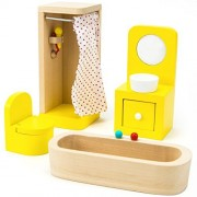 Wooden Family Bathroom Doll House Set - 4 Pieces!
