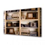 Tablou Canvas Premium Abstract Multicolor Masina De Scris Neagra Decoratiuni Moderne pentru Casa 80 x 160 cm