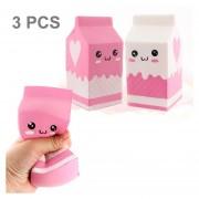 3 PCS Simulación Milk Box Forma Squishy Lento Aumento De Toy Lento Repunte PU Mitigador De La Tension Squeeze Toy, Color Al Azar Entrega