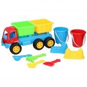 Merkloos Zandbak speelgoed blauwe truck/kiepwagen dubbele container 35 cm