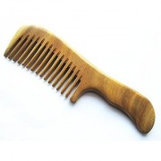 Myhsmooth Gs-2w-mt Handmade Natural Green Sandalwood No Static Comb with Aromatic Scent for Detangling Curly Hair and Gi