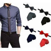 Men's Tie Combo of 4 Classic Slim Neckties with Bow Ties ColourBlack Grey Navy Blue Red Casual Style Fashion P