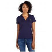 US POLO ASSN Rib V-Neck Polo Shirt Evening Blue