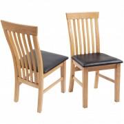 vidaXL Jedálenské stoličky 2 ks, dubový masív a umelá koža
