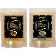 Donnara Organics 100% Natural Reetha Powder and Kaunch Beej powder Combo pack of 2 of 150 gms(300 gms)