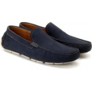 Clarks Davont Drive Blue Nubuck Leather Loafers For Men(Blue)