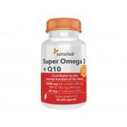 Sensilab Super Omega 3 + Q10 Kapseln 2in1: 1000 mg Fischöl hoher Qualität (280 mg EPK, 190 mg DHK) und 50 mg Koenzym Q10 30 Kapseln für 1 Monat Sensilab