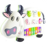 FunnyTool Cow Musical Piano with 3 Modes Animal Sounds Flashing Lights Wonderful Music (Multicolor)