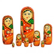 Fine Craft India Set of 9 Piece Hand Paints Matryoshka Traditional Indian Nesting Stacking Wooden Nested Red Dolls Christmas