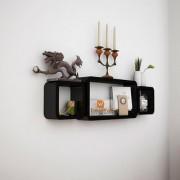 BM Wood furniture Set Of 3 Designer Wall Rack Shelves (black)