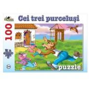 Puzzle Cei Trei Purcelusi, 100 piese