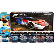 Ayb Products Forza Hot Wheels Exclusive Box Set Retro Real Riders 2016 Ford Gt Lm /Porsche Gt3 Rs / Pagani Huayra '73 BMW 3.0 CLS Blue Speedster + Bone Shaker & Focus Motorsport Cars