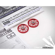 Generic 1 Pair HG 19mm CNC Aluminum Ball-Race Rollers(Ringless/Red) 95237 for Tamiya Mini 4WD Racing Car Model H