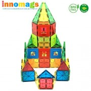 Innomags Magnet Tiles 110 Piece Magnetic Building Blocks Jumbo Tile Set, Clear 3D Stem Educational Construction Playboards for Kids, Creative Clickins, Wheels, Bag, Safety Certified