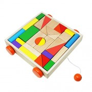 Toyzoo Wooden Block Cart Stacking Games Educational Toy with 30 Solid Wood Blocks