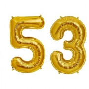 De-Ultimate Solid Golden Color 2 Digit Number (53) 3d Foil Balloon for Birthday Celebration Anniversary Parties