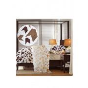 Lenjerie de pat, Dormisete, 2 persoane, crepe, imprimata, Loving Mattise-Honey peach, bumbac, Maro