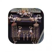 pursuit-of-self Tradicional corona de novia china con aretes y accesorios para el pelo para mujer, blanco, dorado (Crystal Golden Crown Fox/White)