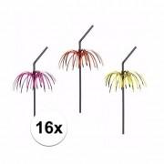 Geen 16x Feestartikelen Tropische rietjes met kleuren palmboom
