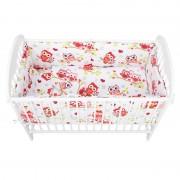 Babyneeds - Lenjerie patut 5 piese 120x60 cm, Bufnite, Rosu
