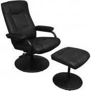 vidaXL ТВ фотьойл с табуретка за крака, черен, изкуствена кожа
