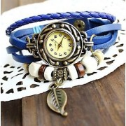 Vintage Watches For Women Genuine Leather Watch Bracelet Wrist Watch Blue Star KB283