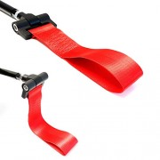 iJDMTOY Track Racing Style Red Towing Strap for BMW 1 3 5 Series X5 X6 & Mini Cooper (E36 E39 E46 E82 E90 E91 E92 E93 E70 E71 R50 R51 R52 R53 R55 R56 R57 R58 R59), Tow Hole Adapter Mounted Nylon Loop