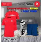 Pachet hummel, tricou Romania + bidon + sort femei albastru galben S S